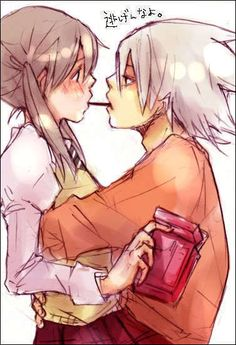 Soul Eater - Maka and Soul Pocky game :) I know they don't have a relationship in the anime/manga, but you know there would be one.