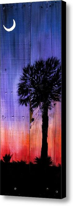 Palmetto Moon Canvas Print by Ashley Galloway. All canvas prints are professionally printed, assembled, and shipped within 3 - 4 business days and delivered ready-to-hang on your wall. Choose from multiple print sizes, border colors, and canvas materials. Moon Painting, Pallet Painting, Pallet Art, Painting On Wood, Painting Canvas, Diy Painting, Palmetto Tree, Palmetto Moon, Deco Nature