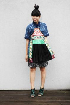 Nankeen fabric shirt, Brocade Country Miao tribe embroidered apron worn with Dries Van Noten skirt and Michael Angel x Manolo Blahnik shoes. From stylebubble.co.uk | Clothroads