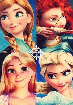 Anna, Merida, Rapunzel and Elsa