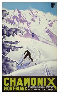 Chamonix Mont-blanc Travel Poster - affiche papier, autocollant ou toile imprimer Pour les commandes en vrac (minimum de commande 30 éléments) sil vous