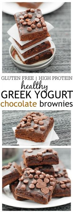 Healthy Greek Yogurt Chocolate Brownies- Extremely fudgy, moist and full of chocolatey goodness- Vegan + GF + high in protein! @thebigmansworld - thebigmansworld.com