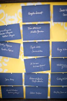 escort cards - like the white on blue