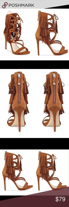 """GUESS SANDALS Go bold in these guess suede gladiator sandals featuring the fashionable trifecta of caged details, fringe, and ankle-tie design with zipper closure. Approx heel 4 1/4""""; platform 1/2"""" GUESS Shoes Sandals"""