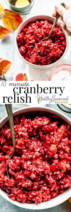 Cranberry Relish made with ground raw cranberries and whole orange mixed with sugar and raspberry jam. It's ready in only 10 minutes, and can be made up to 5 days ahead! Healthy Thanksgiving Recipes, Easy Holiday Recipes, Healthy Recipes, Holiday Meals, Winter Recipes, Healthy Foods, Bean Casserole, Sweet Potato Casserole, Cranberry Orange Relish