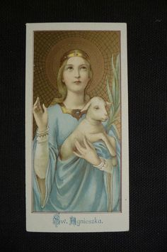 Antique holy card SW Agnieszka Saint Agnes Lamb by PapersOfOld