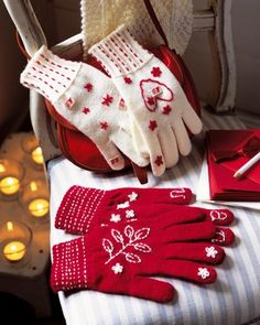 easy gift: buy a pair of one colored gloves and sew some embroidery to make them personal