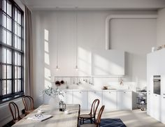 Oscar Properties #oscarproperties   Stockholm, Radiofabriken, Industriverket, window, lights, kitchen, kök, industri, vitt, matbord, thonet, design, marble, factory