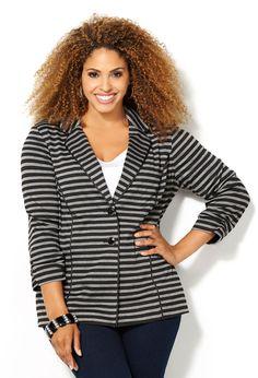 Striped Ponte Knit Blazer-Plus Size Blazer-Avenue