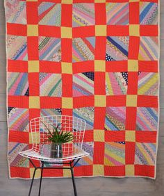Geometric Patchwork Quilt - Red Quilt with Bright Colors - Twin Size Bedding - Vintage Quilt by KOLORIZE on Etsy https://www.etsy.com/listing/200589436/geometric-patchwork-quilt-red-quilt-with