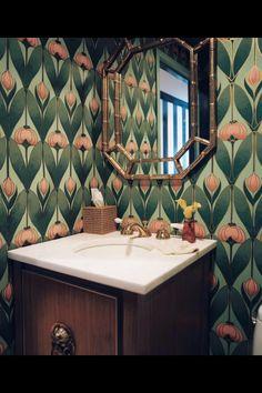 Wallpapered bathroom- so arts & crafts looking.