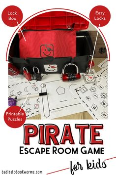 This pirate escape room game for kids is perfect for developing problem solving skills and having fun! Craft Activities For Kids, Preschool Activities, Games For Kids, Crafts For Kids, Scavenger Hunt For Kids, Printable Puzzles, Best Children Books, Boredom Busters, Fun Challenges