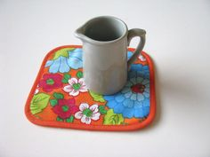 orange kitsch fabric coasters - colorful floral mug rug - mod kitsch retro mug rug - fun hostess gift - kitsch placemat home decor