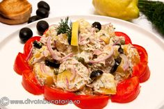 salata-de-cartofi-cu-ton-si-capere Healthy Salads, Potato Salad, Food And Drink, Gluten, Potatoes, Snacks, Ethnic Recipes, Festive, Hair