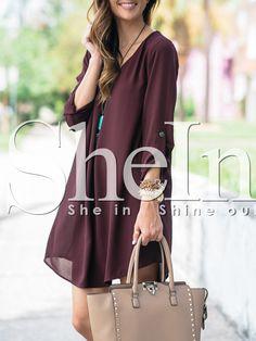 Burgundy Adjustable Sleeve Shift Dress 15.99