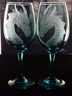 turquoise . lime green  or purple dragon engraved wine  glass set of two , custom wine glasses , etched wine glasses , stemware
