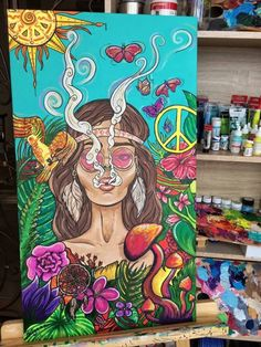 hippie painting ideas 145663369189778419 - Original People Painting by Daria Shelest Easy Canvas Art, Cute Canvas Paintings, Small Canvas Art, Mini Canvas Art, Easy Art, Girl Paintings, Happy Paintings, Nature Paintings, Abstract Paintings