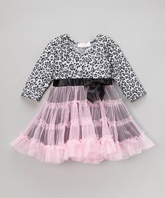 Loving this Pink & Black Cheetah Bow Dress - Toddler & Girls on #zulily…