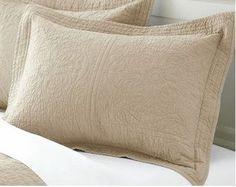 """Cutelife Elegant Cotton Bedroom Pillow Sham - Flowers Washed Embroided - Khaki- 20""""x26"""" 2"""" Good for one Standard Pillow"""