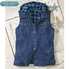 Buffalo Plaid Lined Denim Vest - Horse Themed Gifts, Clothing, Jewelry and Accessories all for Horse Lovers | Back In The Saddle