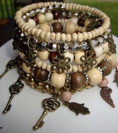 Memory wire wrap bracelet boho chic charm wrap around beaded bracelet