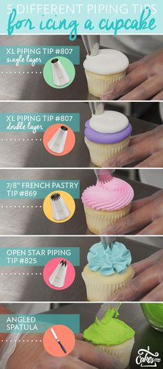 Fantastic cupcake decorating tips! 5 different tips for icing cupcakes.