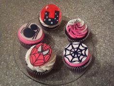 Spider-girl cupcakes.. pink spider cupcakes .. city scape, spider web