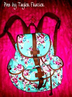 Cute canvas backpack for school. mint, brown and floral pattern. By Candies