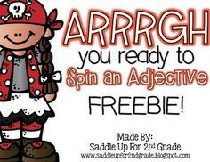 Spin an Adjective is an easy, print and go activity to use with your students to… 2nd Grade Grammar, First Grade Phonics, 2nd Grade Ela, First Grade Reading, Speech Language Therapy, Speech And Language, Language Arts, English Language, Classroom Helpers