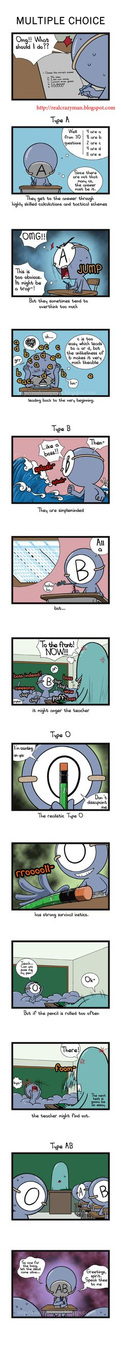 blood type comic - i am an O type but i was always been a good student. I studied before the exam XD
