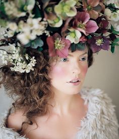 A wintry headpiece made up of hellebores | Floral design by Ivanka Matsuba | Styling by Anna Korkobcova | Photo by Zack Pianko | Hair and makeup by Katie Nash