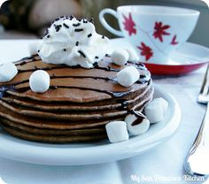 Breakfast, desserts, and snacks all can be livened up with creative recipes for hot chocolate mix. Hot chocolate is not just for drinking anymore. Hot Chocolate Pancakes, Hot Chocolate Mix, Pancakes And Waffles, Chocolate Syrup, Chocolate Desserts, Yummy Treats, Delicious Desserts, Sweet Treats, Yummy Food