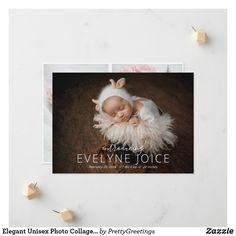 Elegant Unisex Photo Collage Newborn Girl Boy Announcement