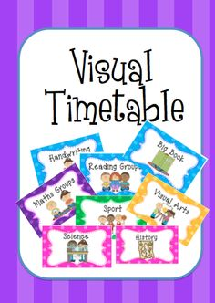 Visual Timetable --- This is a visual timetable that can used to showstudent the activities that they will be doing.This relieves anxieties for the day and provides a guideline. The signs can be changed every day.  I would love any feedback that you have about this product!  Thanks, Enjoy!! #reachingteachers Check more at http://www.reachingteachers.com.au/teacherresources/product/visual-timetable/