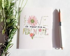 Greeting Card: Love Is An Adventure by StripedCatStudio on Etsy