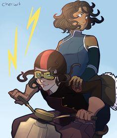 Korra & Asami by cheriiart