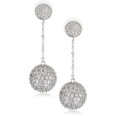 "CZ by Kenneth Jay Lane ""Trend CZ"" Rhodium-Plated Pave Ball and Chain Drop Earrings found on Polyvore"