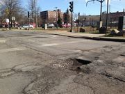 Worst holes await drivers after rapid track crossings at Shaker Boulevard.