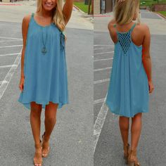 2017 New Summer Mini Dress Spaghetti Strap Hollow Out Sexy Chiffon Beach Loose Mini Dress See Throug