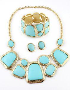 Set de collar pendientes pulsera dorados piedras azules EUR€11.57