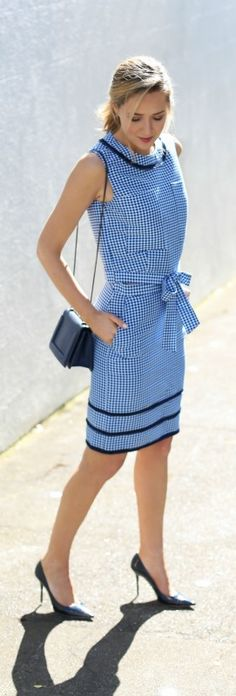 gingham pencil skirt, gingham crop top, navy patent pumps, navy crossbody bag + ponytail hairstyle {timo weiland for banana republic, jimmy choo, 3.1 phillip lim}
