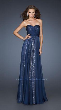 { 18706 | La Femme Fashion 2013 } La Femme Prom Dresses - Sequin Underlay - Navy & Gold - Elegant and Sophisticated Gown