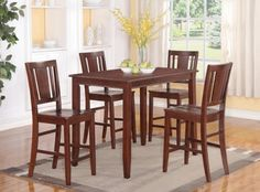 5PC Counter Height 30X48 Table And 4 Wood Seat Chairs,Mahogany 5PC Counter Height 30X48 Table And 4 Wood Seat Chairs,Mahogany. Counter Height Table: Width 30 in, Length 48 in Height 36 in. -Counter Height Chairs: Width 18 in , Depth 17 in , Back Height: 42 in .. Top quality products with 100% solid wood, No MDF or veneer top.  #Wooden_Imports_Furniture #Home