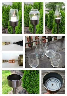 Glass Candle Lanterns - Outdoor Lighting - Ideas of Outdoor Lighting - DIY lanterns: tuna can glass globe dowel or old broom handle copper fitting black spray paint 1 of 28 Outdoor Lighting DIYs To Brighten Up Your Summer Diy Garden, Garden Crafts, Garden Projects, Garden Art, Diy Projects, Recycled Garden, Garden Painting, Garden Design, Pergola Diy