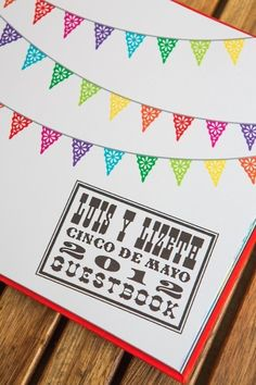 Cinco de Mayo Mexican fiesta wedding guestbook designed by The Goodness