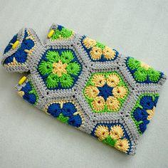 Hot Water Bottle Cozy Crochet African Flower Hot by CrochetbyLily, $29.00