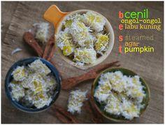 Indonesian Medan Food: Cenil / Ongol - Ongol Labu Kuning ( Steamed Agar Pumpkin )