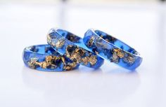 3d03fc2c2 Deep Blue Faceted Ring with Gold Flakes - Thin Faceted Band Ring - Resin  Stacking Ring - Minimal Resin Jewelry