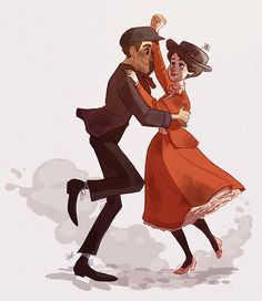 Mary Poppins and Burt stepping in time