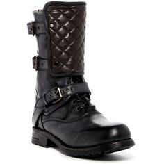 UGG Australia Savona Quilted Combat Boot (£195) ❤ liked on Polyvore featuring shoes, boots, ash, mid-calf boots, quilted leather boots, combat booties, lace up boots, lace up combat boots and ugg boots